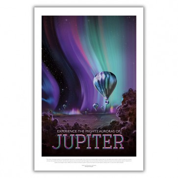 Experience the Mighty Auroras of Jupiter - NASA JPL Space Travel Poster